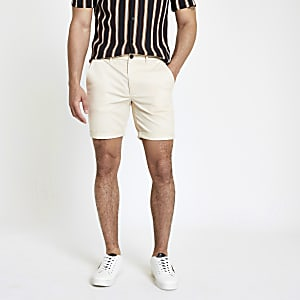 Steingraue Skinny Chino-Shorts