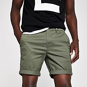 Khaki skinny fit chino shorts