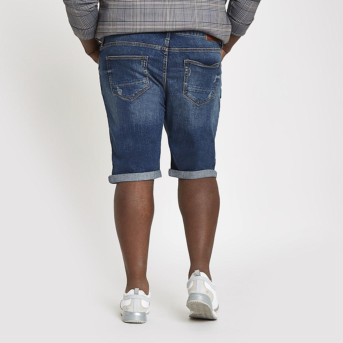 09fab7885d Big and Tall blue skinny fit denim shorts