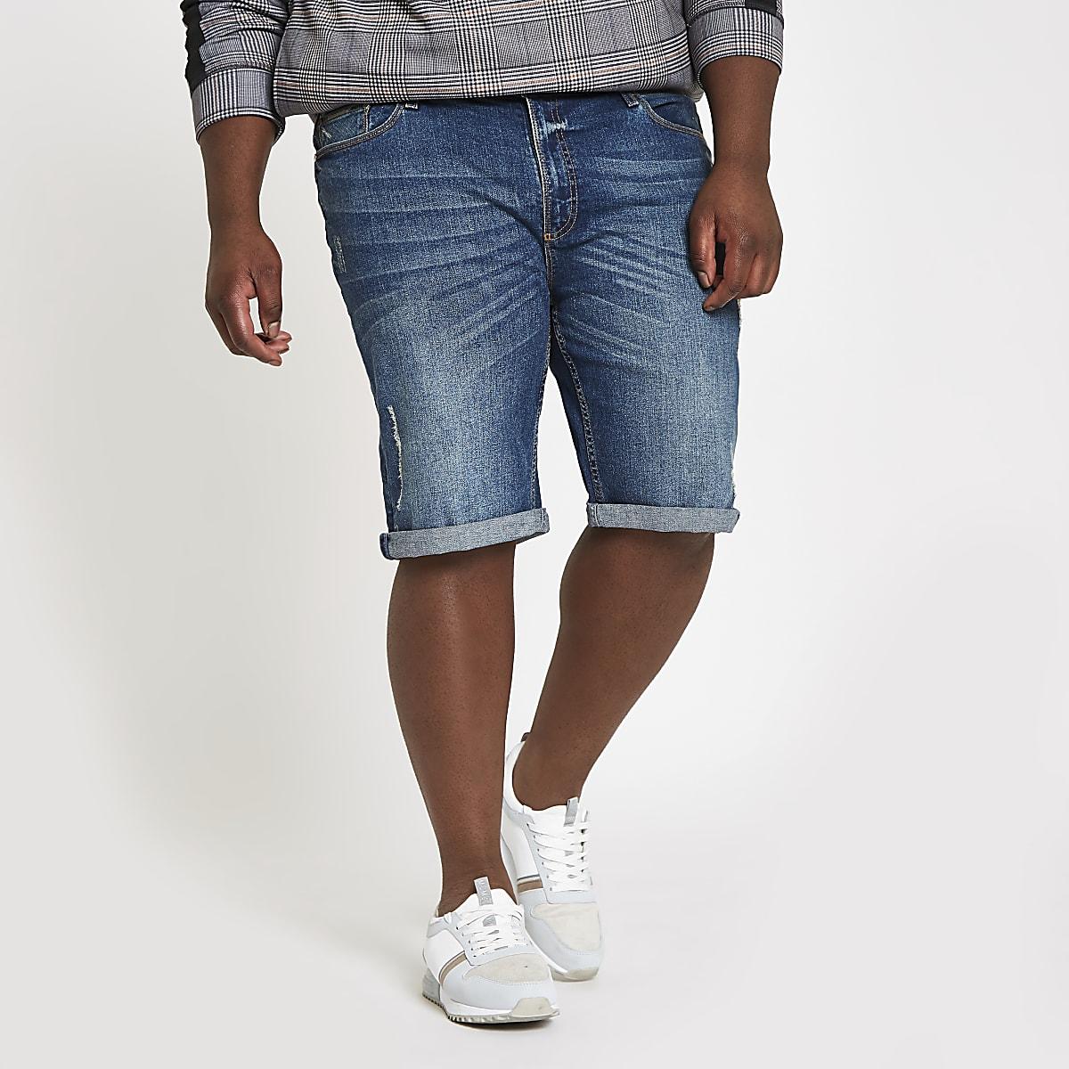 Big & Tall – Blaue Skinny Fit Jeansshorts