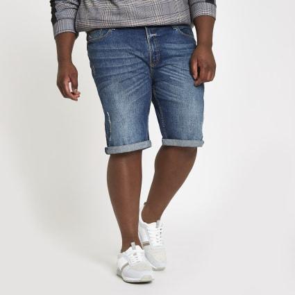 Big and Tall blue skinny fit denim shorts