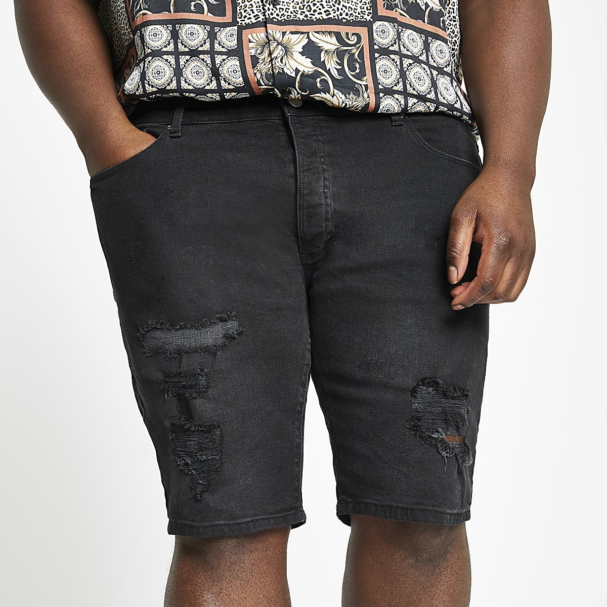 Big and Tall - Skinny denim short met zwarte wassing