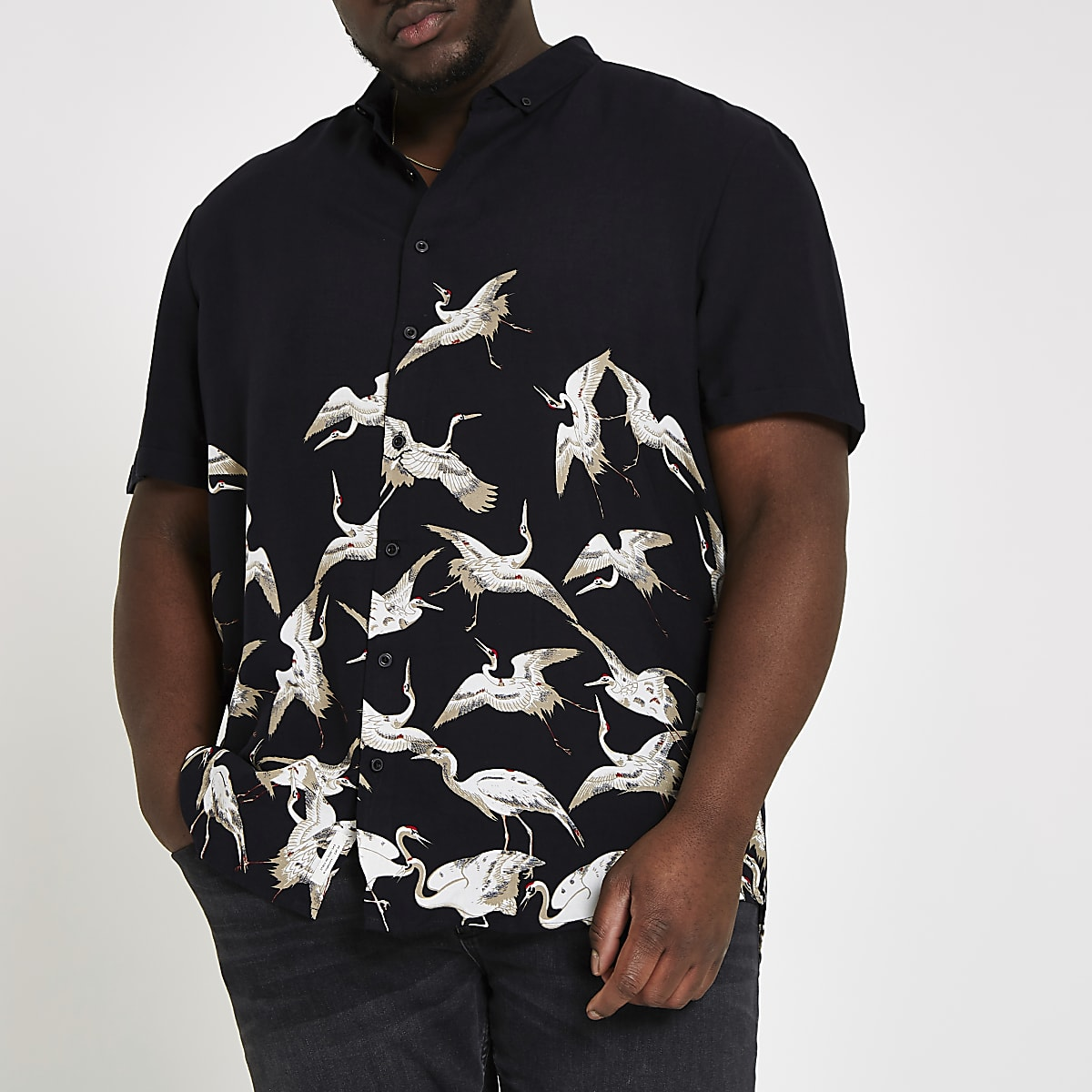 Big and Tall black crane print shirt
