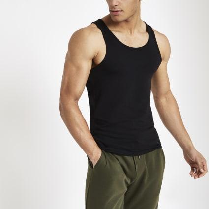 Black muscle fit scoop neck vest