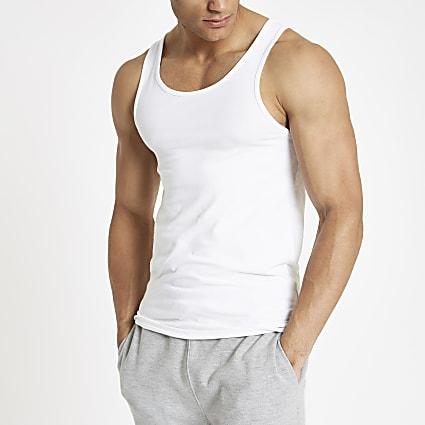 White muscle fit scoop neck vest