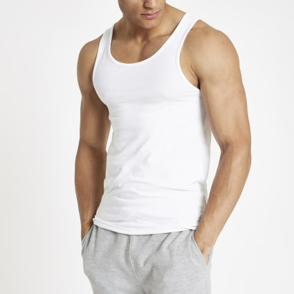White muscle fit scoop neck vest