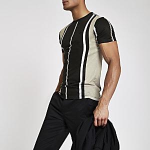 Schwarzes, gestreiftes Muscle Fit T-Shirt