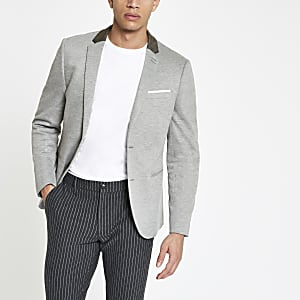 Grey skinny fit jersey blazer