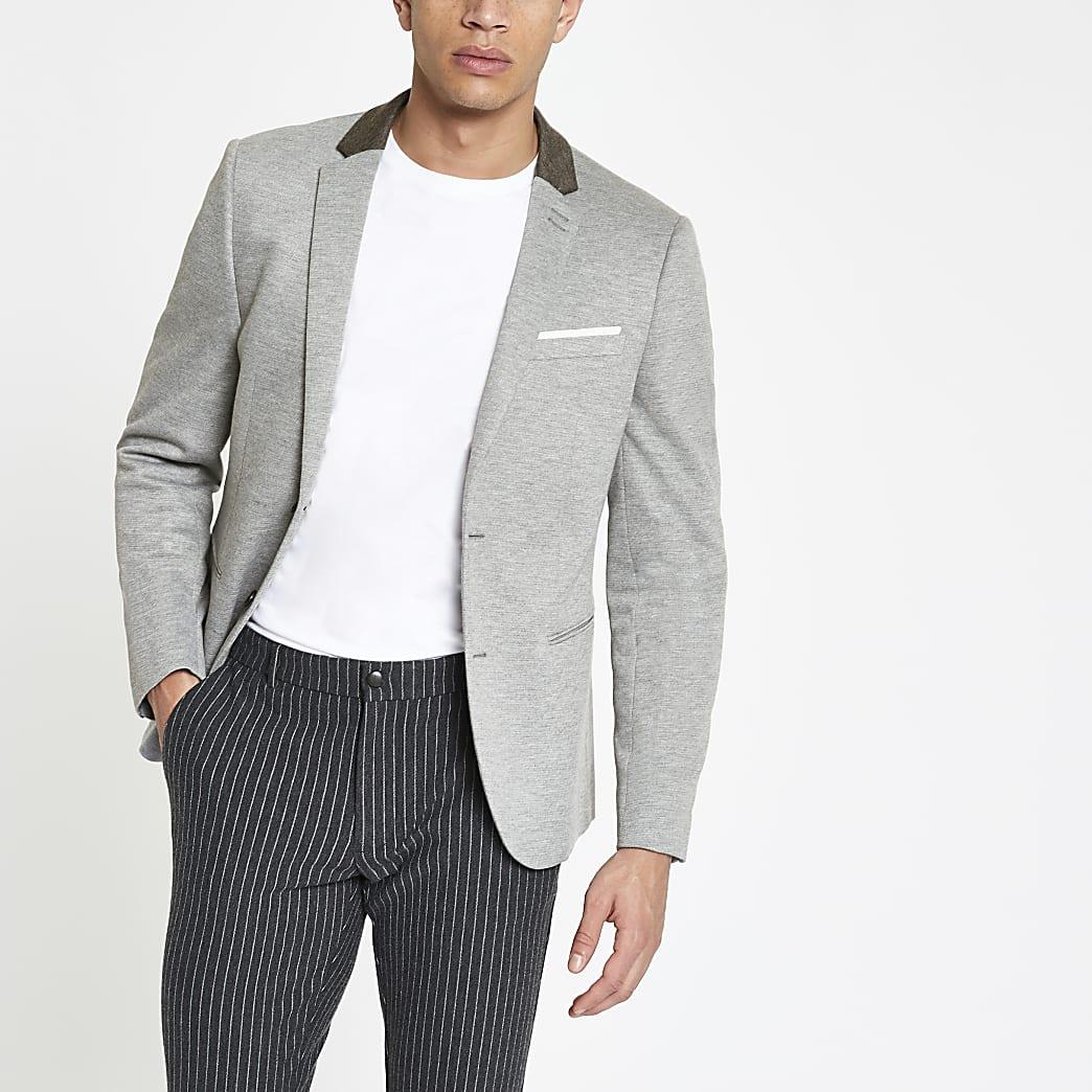 Blazer skinny en jersey gris