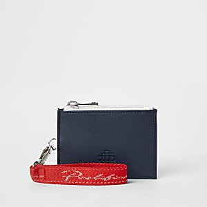 Navy 'Prolific' colour blocked card holder
