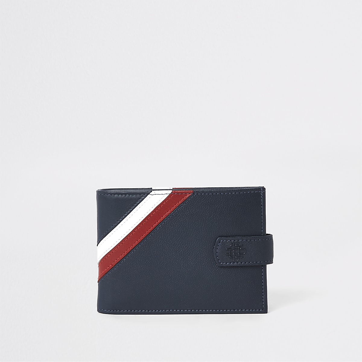 Navy leather chevron fold out wallet