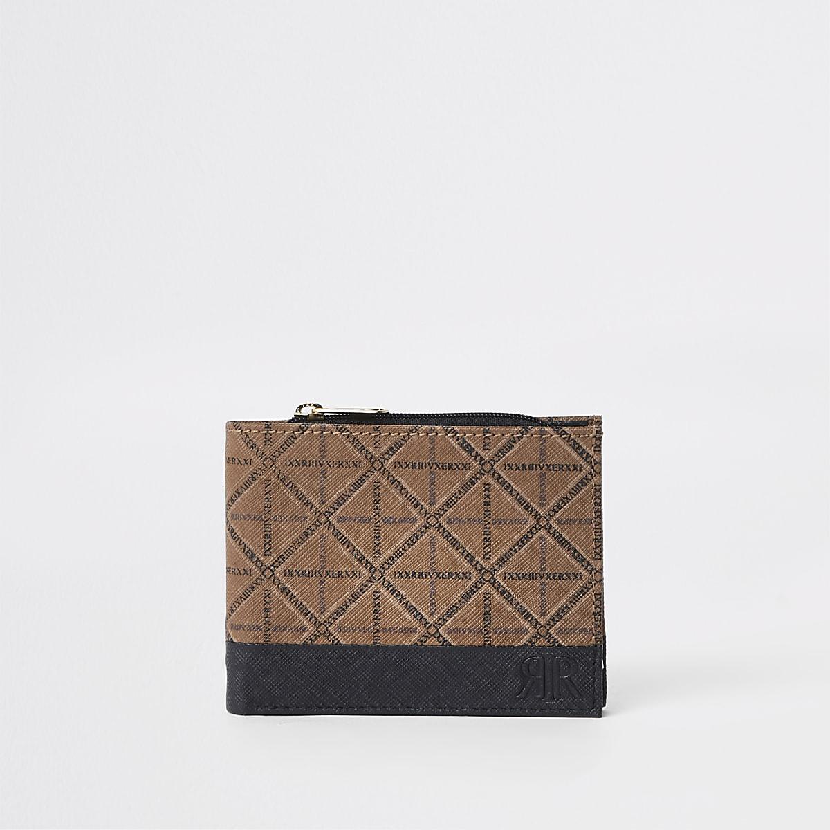 Tan leather printed zip wallet