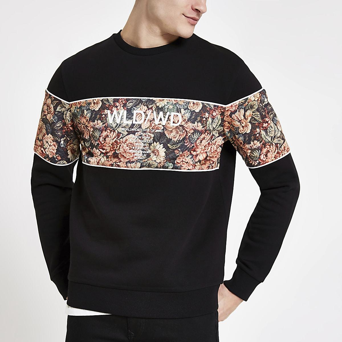 Sweat slim color block à fleurs noir
