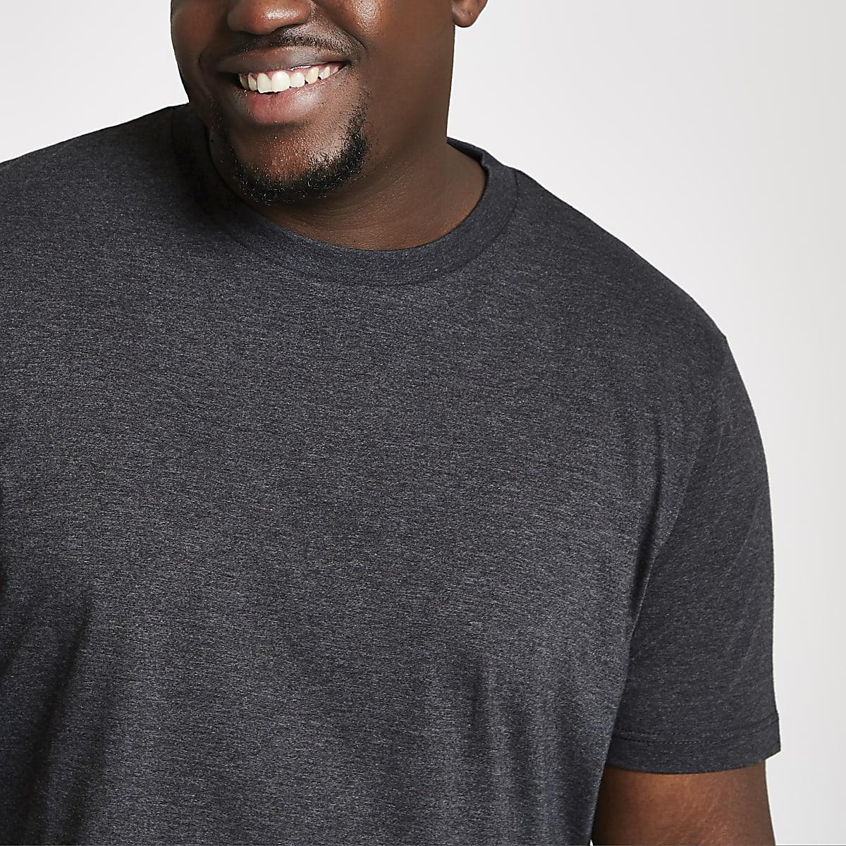 Big and Tall – T-shirt slim gris foncé