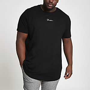 Big and Tall black 'Prolific' curve T-shirt