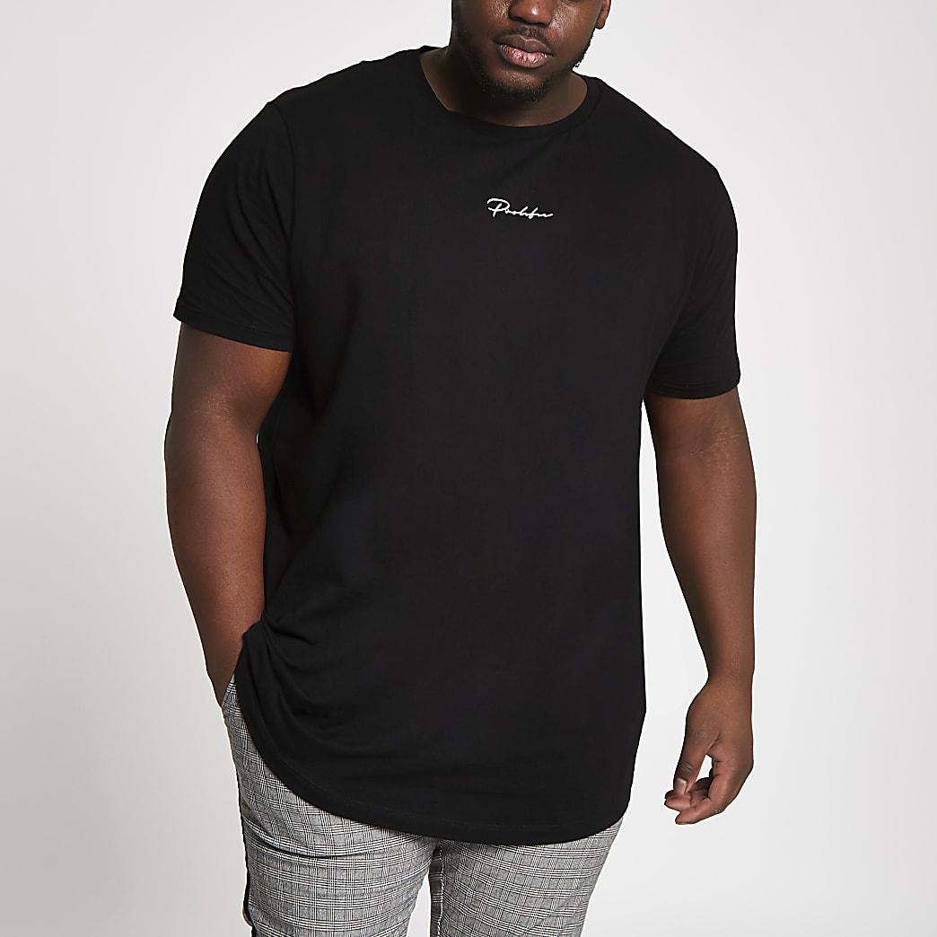 Big & Tall - Zwart 'Prolific' T-shirt met ronde zoom