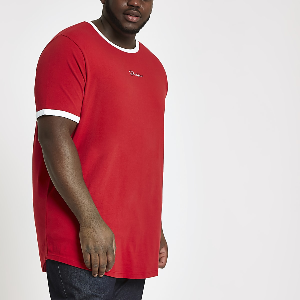 Big and Tall - Prolific - Rood T-shirt met ronde zoom