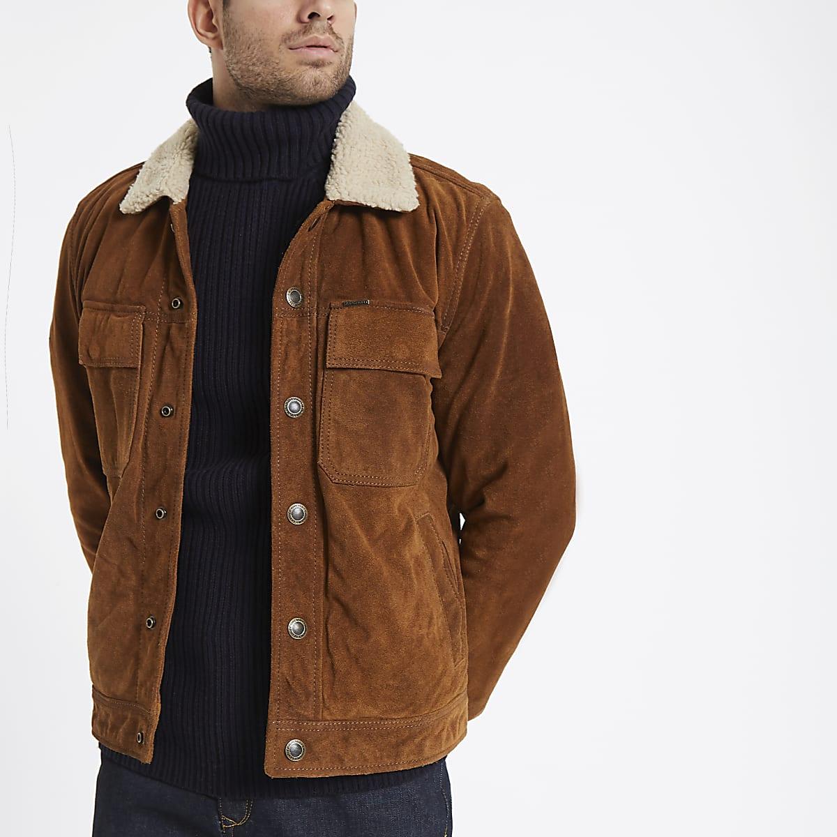 Superdry tan suede borg collar jacket
