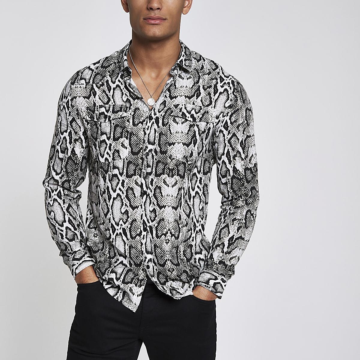 Grijs western overhemd met slangenprint en lange mouwen
