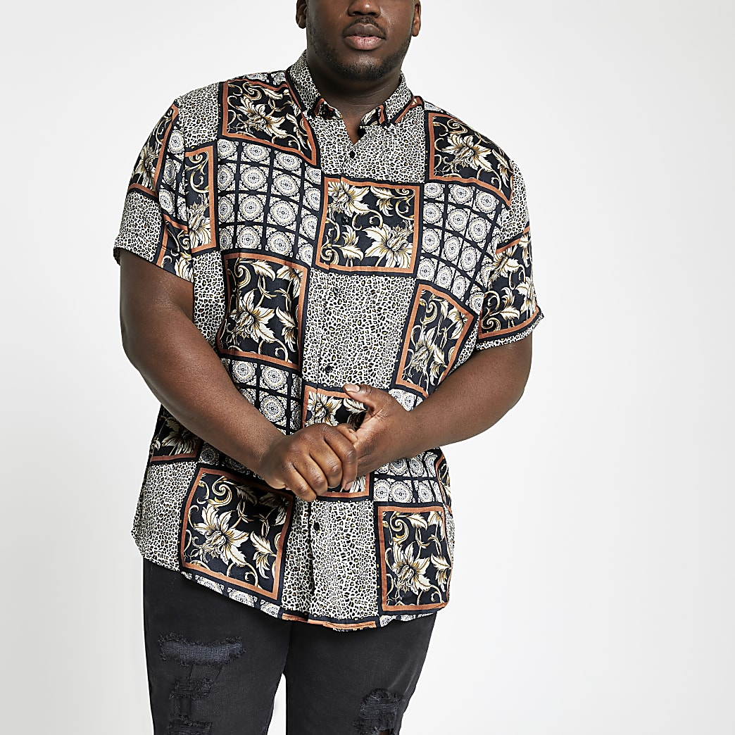 Big and Tall - Zwart overhemd met reverskraag, tegel- en dierenprint