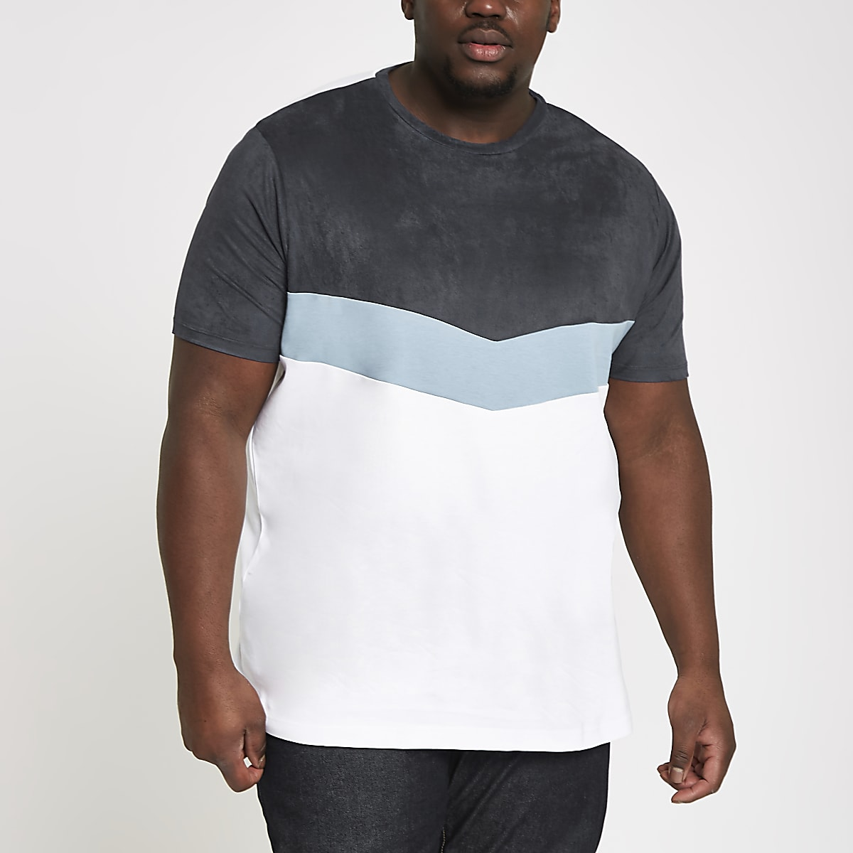 Big and Tall – T-shirt blanc à chevron colour block