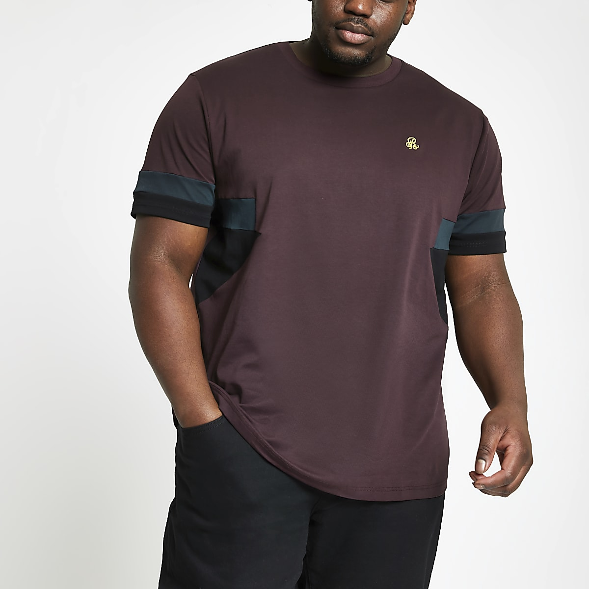 Big and Tall R96 burgundy splice T-shirt