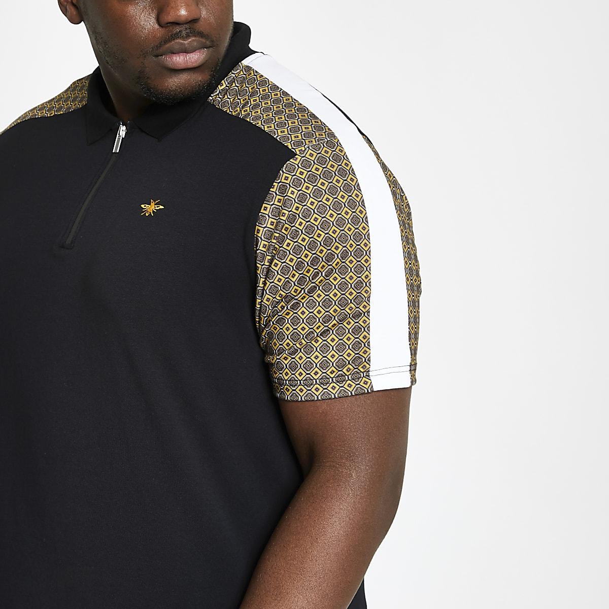 Big and Tall black tile print zip polo shirt