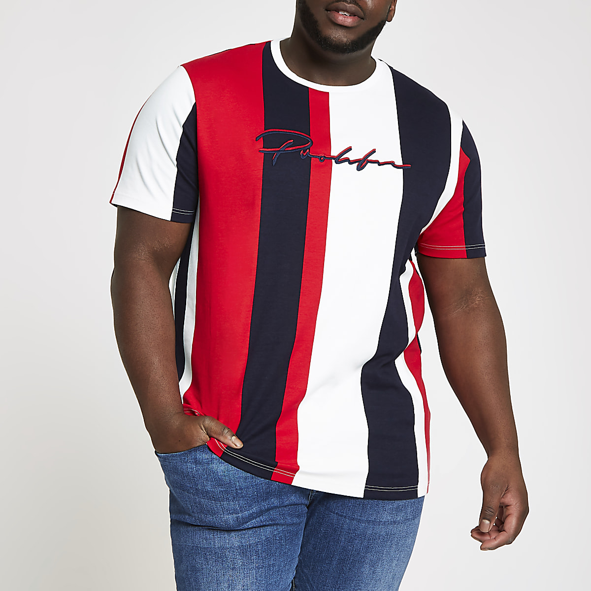 Big and Tall red 'Prolific' stripe T-shirt