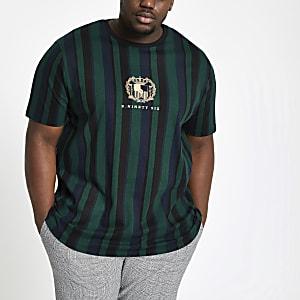 Big & Tall – Grünes, gestreiftes Muscle Fit T-Shirt