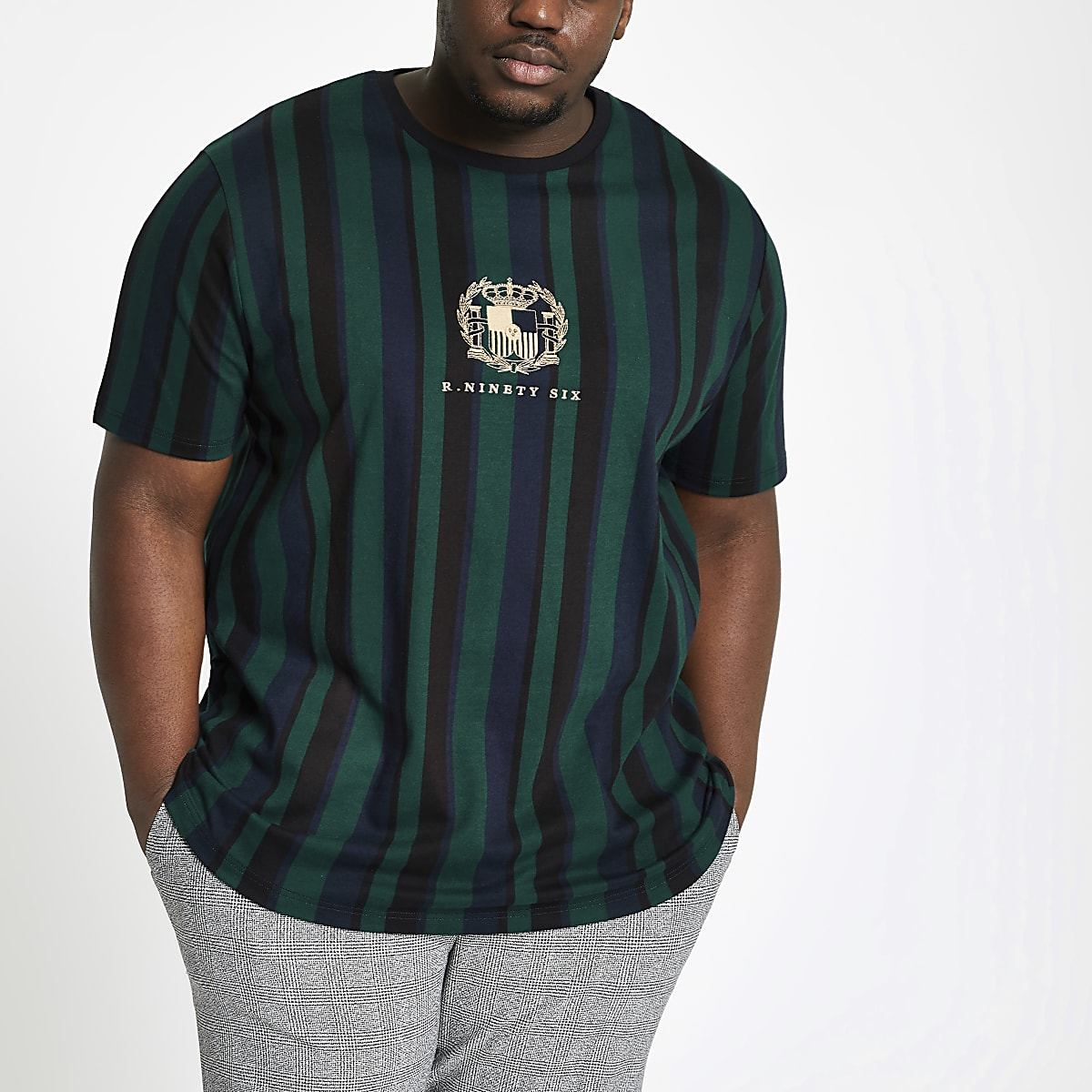 Big and Tall – T-shirt ajusté rayé vert