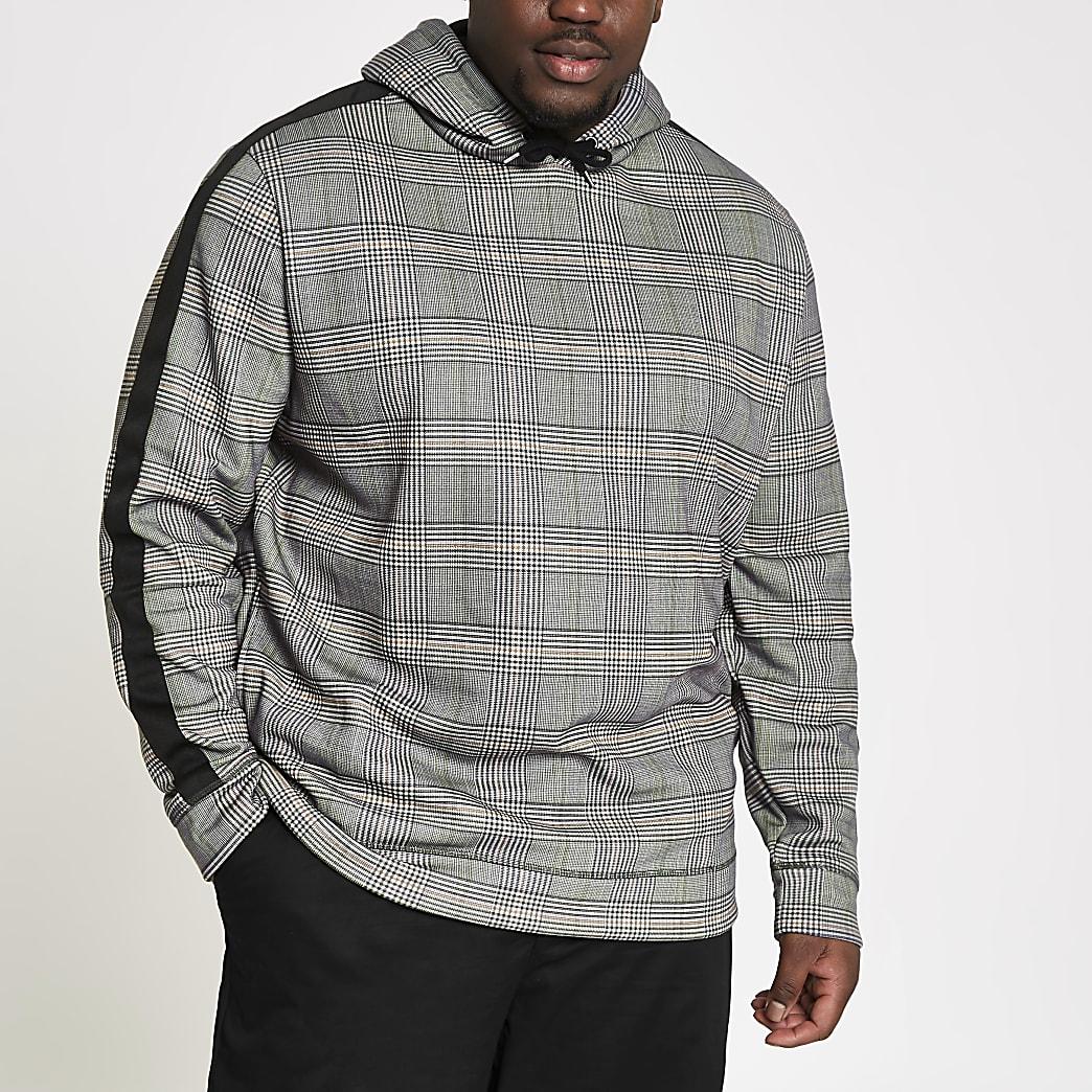 Big & Tall - Grijze geruite slim-fit hoodie