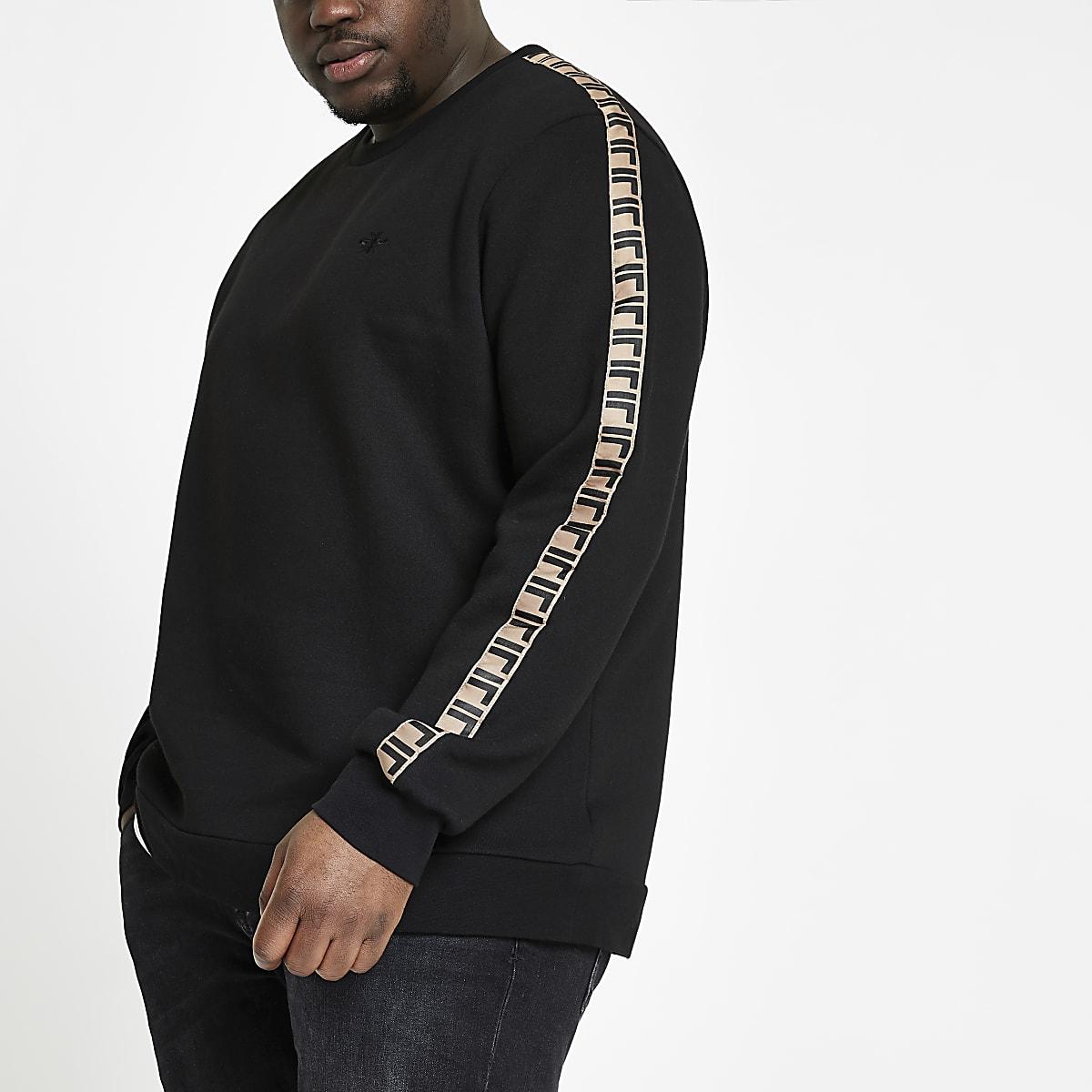 Big & Tall – Schwarzes Slim Fit Sweatshirt