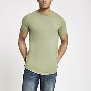 Grünes, langes T-Shirt mit abgerundetem Saum