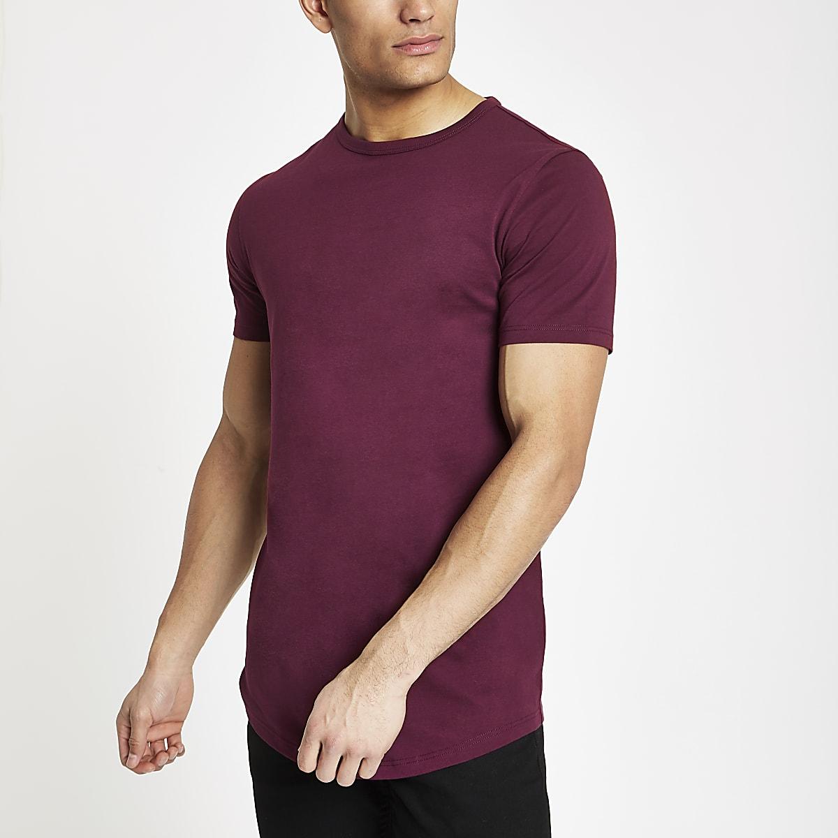 Rood lang T-shirt met ronde zoom