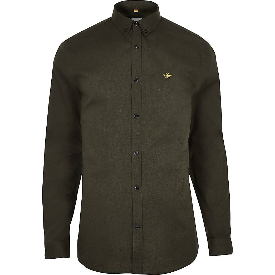 Khaki muscle fit embroidered Oxford shirt