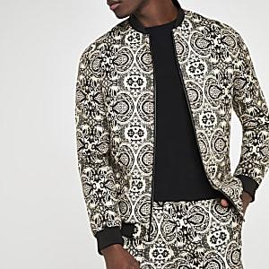 Ecru print skinny fit bomber jacket