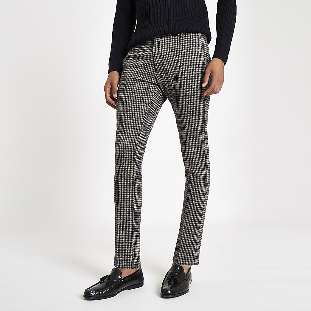 Navy check super skinny smart trousers