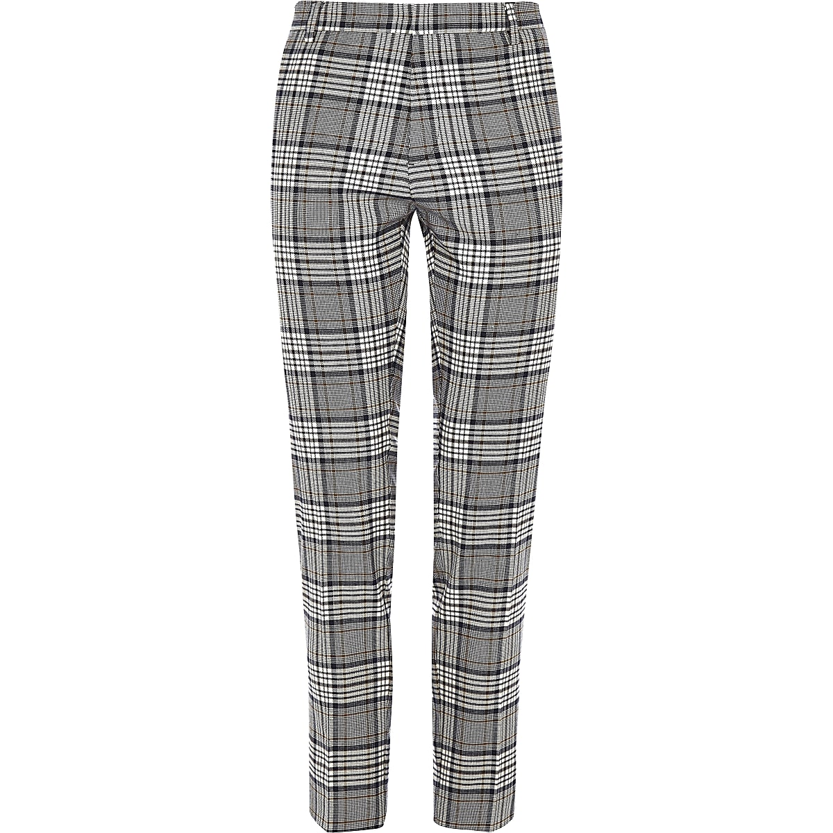 03fdbd8d Grey tartan check super skinny smart trousers - Smart Trousers ...