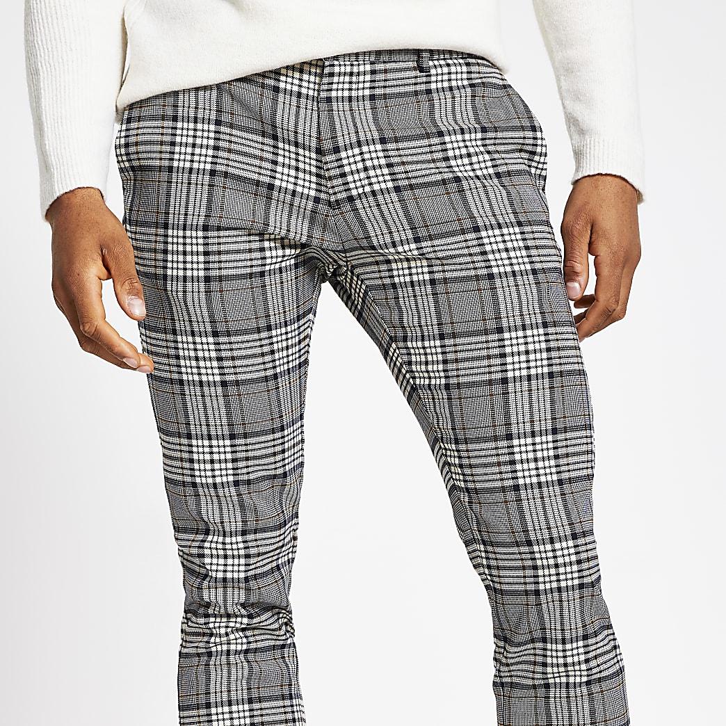 Pantalon habillé super skinny motif écossais gris