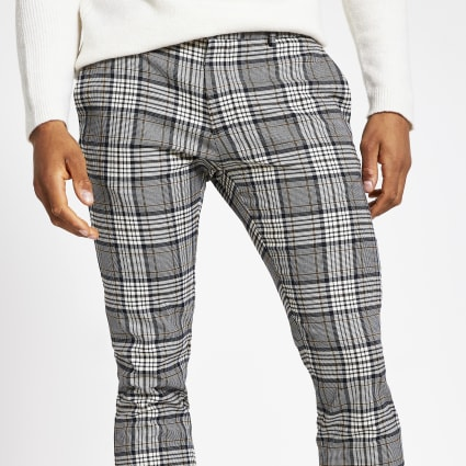 Grey tartan check super skinny smart trousers