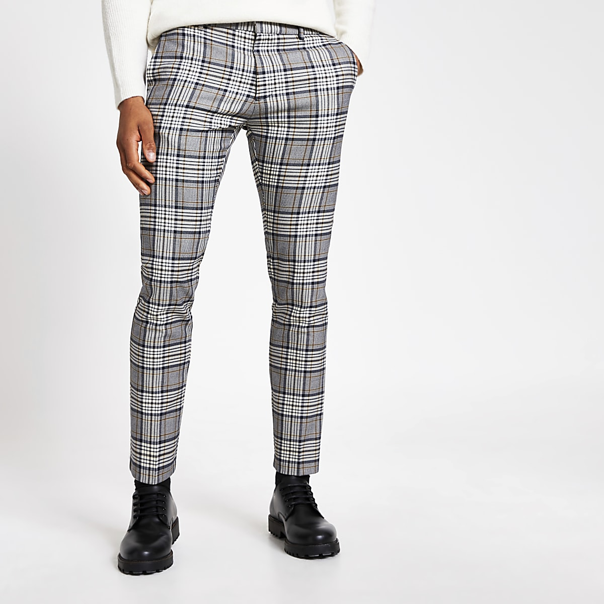 6013d5eb Grey tartan check super skinny smart trousers - Smart Trousers - Trousers -  men