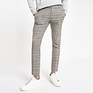 Brown check super skinny smart pants