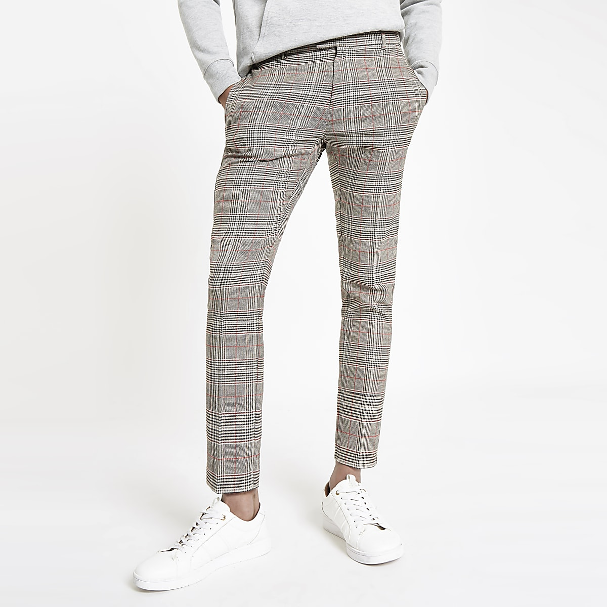 Brown check super skinny smart trousers