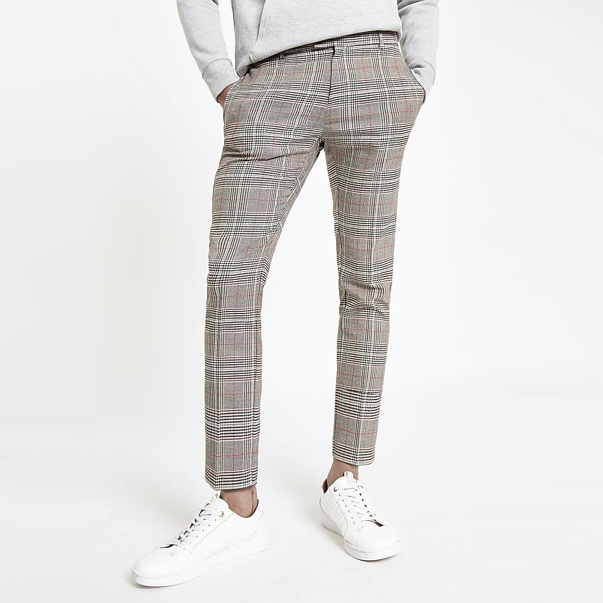 Brown check super skinny smart pants