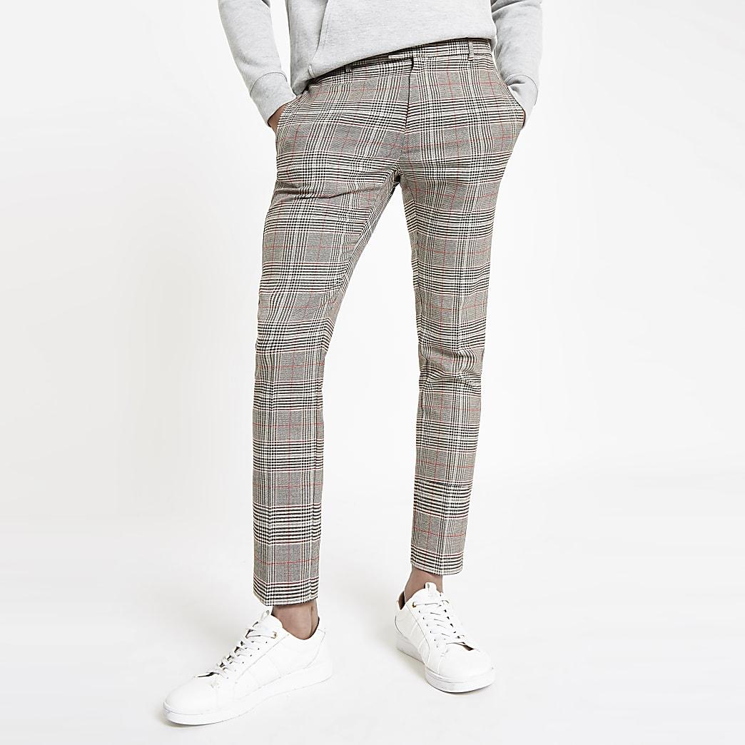 Pantalon habillé super skinny à carreaux marron