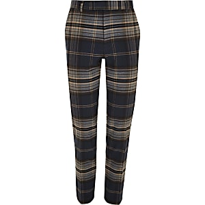 Big and Tall navy check smart pants