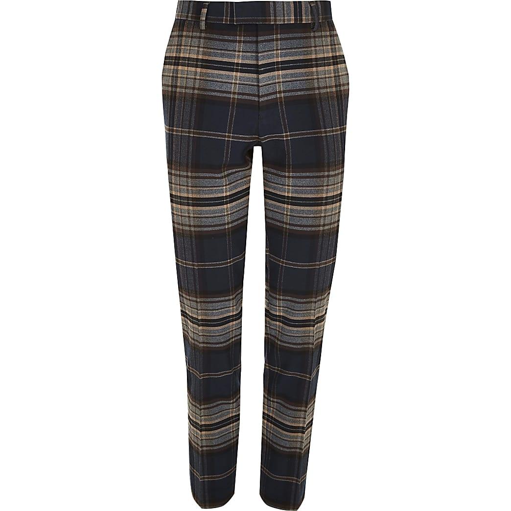 Big and Tall – Pantalon habillé à carreaux bleu marine