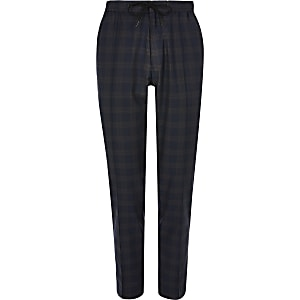 Big and Tall navy check smart joggers