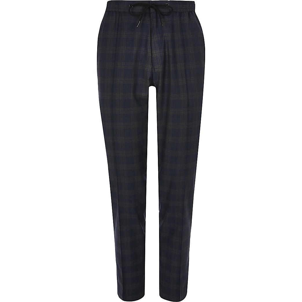 Big and Tall – Pantalon de jogging habillé à carreaux bleu marine