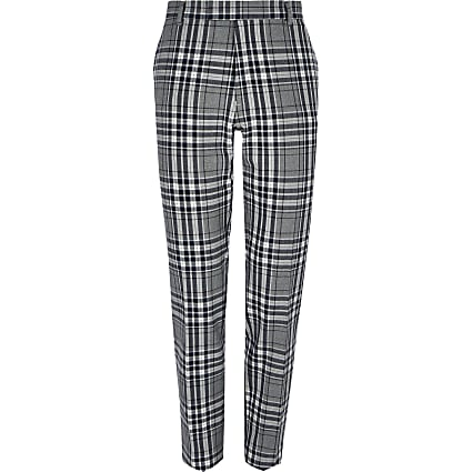 Big and Tall grey tartan smart trousers